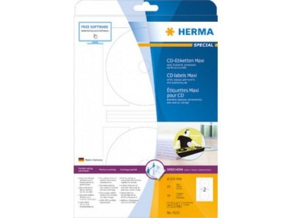 Etiketten Herma Special CD/DVD A4,  Ø116mm Maxi, weiss