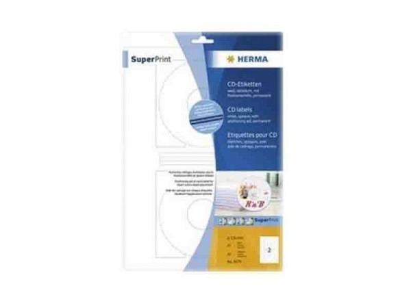 Etiketten Herma Special CD/DVD-Etiketten A4, Ø116mm, weiss