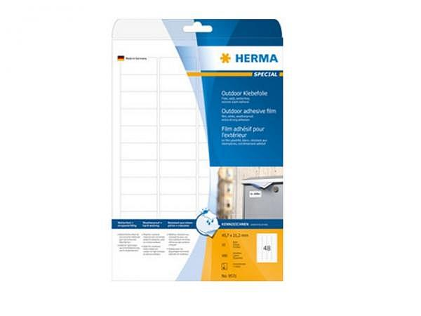 Etiketten Herma Special Outdoor-strapazierfähig A4, permanent, 45,7x21,2mm