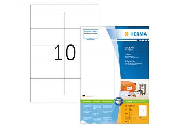 Etiketten Herma Premium Universal- und Adressetiketten A4, permanent, 50,8x105mm, weiss