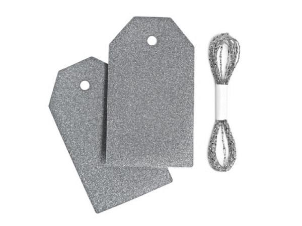 Anhängeetiketten Braun Glamour silber 3,5x6cm 10Stk.