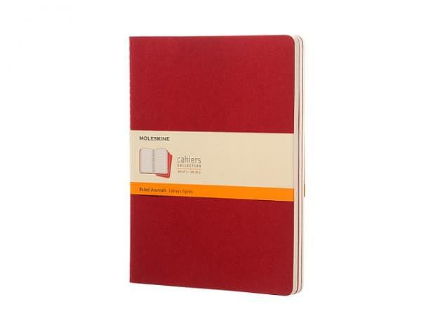 Notizheft Moleskine Cahier XL (19x25cm) liniert 3Stk rot