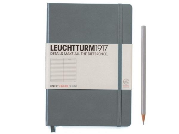 Notizbuch Leuchtturm medium liniert anthrazit, 145x210mm
