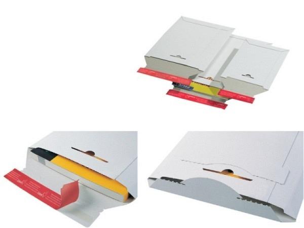 Kartoncouverts ColomPac weiss B5 Karton mit Wiederverschluss
