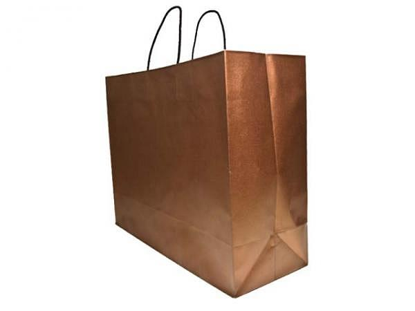 Tragtasche Papier Bronze 45x33x15cm, braune Tragschlaufe
