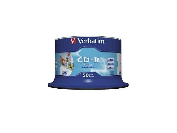 CD Rohling Verbatim Printable CD-R fullprint, 700MB Spind