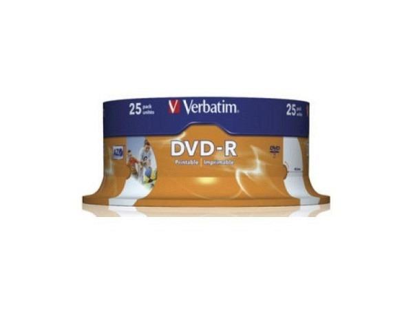DVD Rohling Verbatim DVD-R Spindel 25Stk, 4.7GB 1-16x weiss