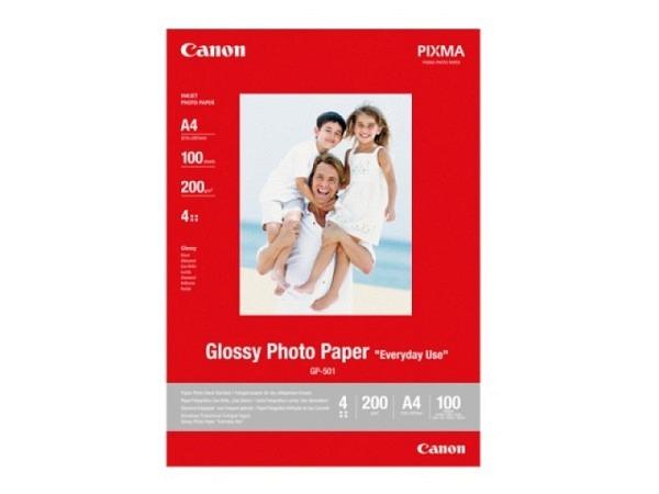Papier Canon Fotopapier glossy A4 100Blatt 210g/qm, einseitig glänzend beschichtet, mit Inkjet bedruckbar, GP501A4