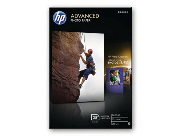 Papier HP Fotopapier Advanced Glossy 10x15cm, 250g/qm, randlos, 25 Blatt, für Inkjet, Q8691A