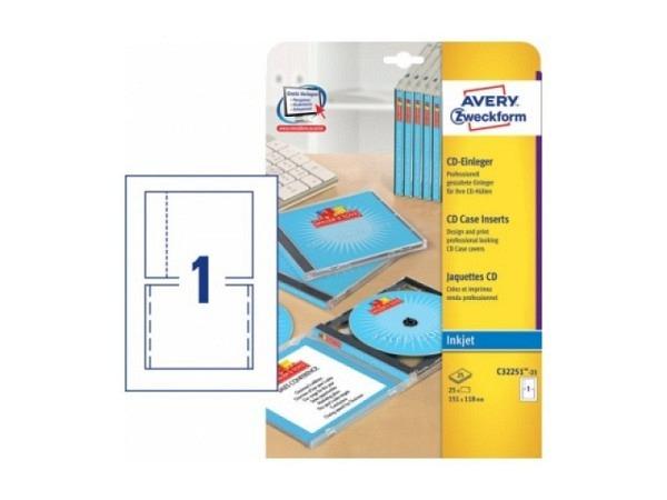 CD-Einleger Zweckform C32251-25, 151x118mm auf A4 200g/qm