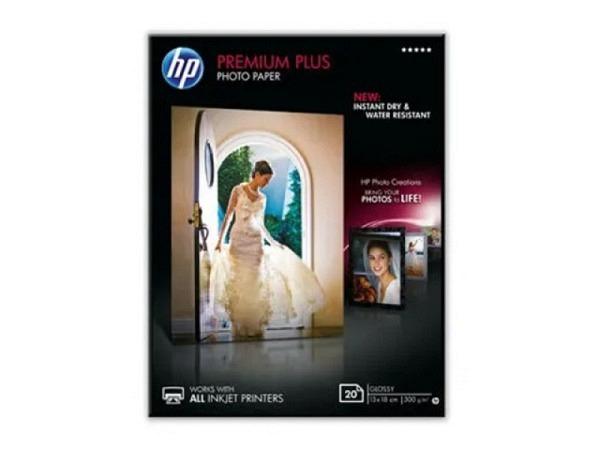 Papier HP Fotopapier Premium Plus glossy 13x18cm 300g 20 Karten, CR676A, einseitig bedruckbar, für Inkjet