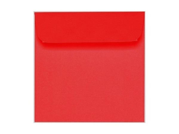 Couverts Artoz 16x16cm rot mit Selbstklebeverschluss, 100g/qm, leicht gerippt, bedruckbar, quadratisch