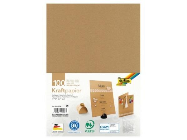 Papier Folia Kraftpapier braun 120g/qm 100 Blatt A4