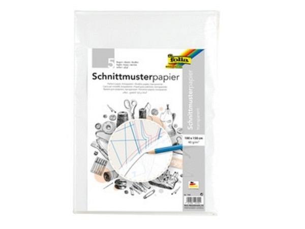 Papier Folia Schnittmuster 1x1,5m, 40g/qm, gefalzt chlor und säurefrei, Packung à 5tück