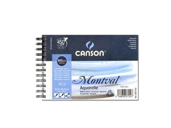 Aquarellblock Canson Montval Spirale fein 300g 12 10x15