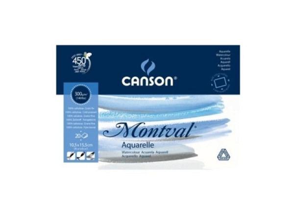 Aquarellblock Canson Montval 300g, 19x24cm 12 Blatt, geleimt