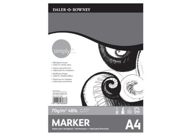 Zeichenblock Daler-Rowney Marker Paper A4 70g/qm, 50Blatt