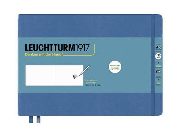 Skizzenbuch Leuchtturm Medium Landscape Denim blanko A5 quer 210x145mm Hardcover, 150g/qm