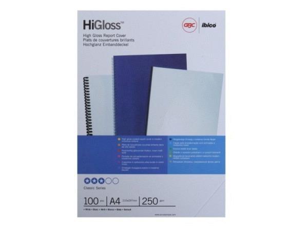 Chromolux A4 GBC HiGloss Einbanddeckel weiss glänzend 250g/qm 100Stk
