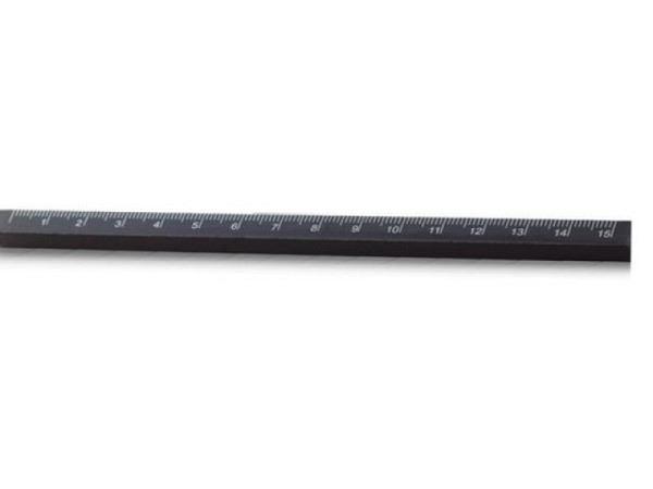 Massstab Holz schwarz 15cm aus Erlenholz gebeizt, 8x8mm