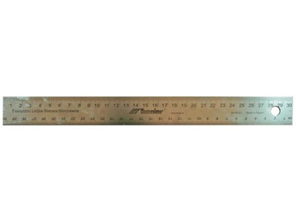 Schneidmassstab Leniar d�nn 30cm auf der einen Seite mit mm-Skala, auf der anderen mit 0,5mm-Skala, Korkunterlage verhindert wegrutschen, aus Stahl