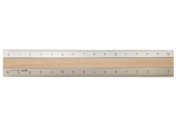 Massstab Midori 15cm silber mit hellbrauner Holz-Einlage