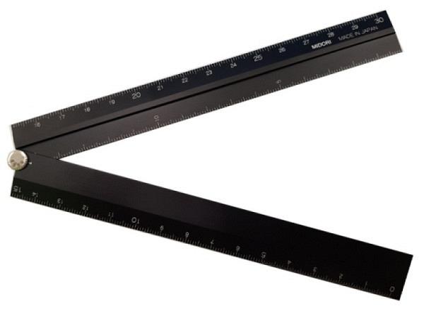 Massstab Midori 15/30cm lang aus Aluminium schwarz