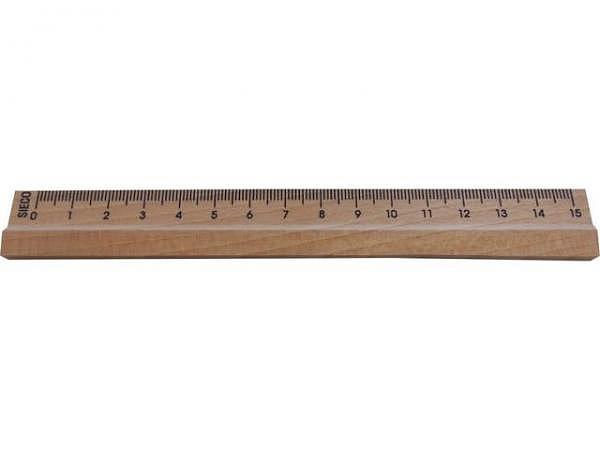 Massstab Sieco Holz 15cm Buche natur, schwarze Skala