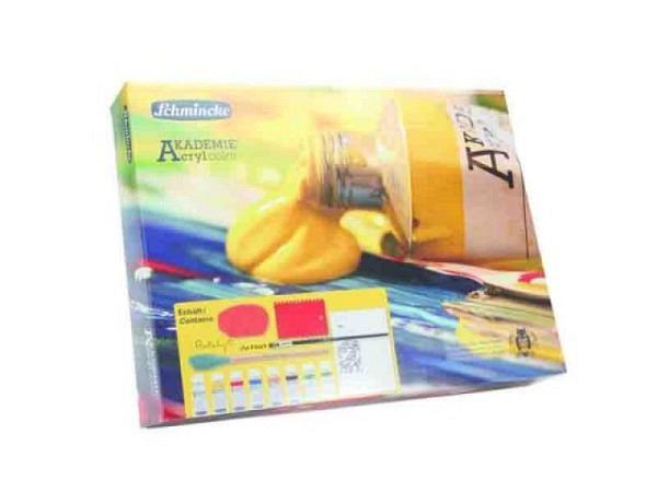 Akryl Schmincke Akademie Acrylcolor Set 6x60ml Kartonset, mit einer Leichtstrukturpaste 60ml, Gel Black Flakes 60ml, Pinsel da Vinci Nr.12, zwei Gummispachtel Catalyst und einem bespannten Keilrahmen, 76725