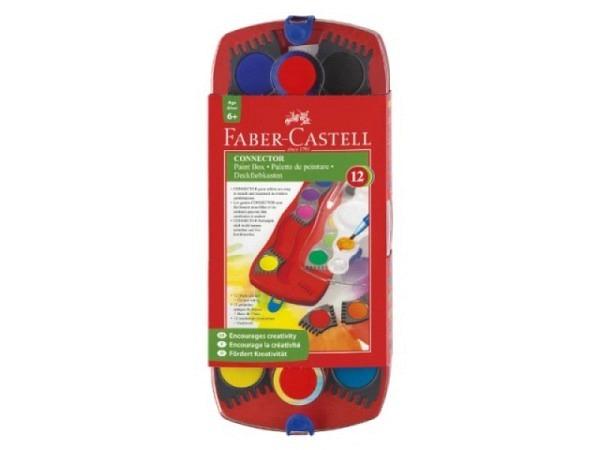 Gouache Faber-Castell Connector Malkasten rot mit 12 Farben