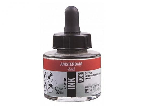 Airbrush Talens Amsterdam Acrylic Ink 30ml Silber 800