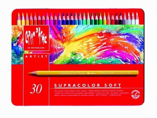 Farbstift Caran dAche Supracolor 30er Metalletui, sehr gut lichtbest�ndig, wasservermalbar, weich, sechskantige Stifte in Minenfarbe lackiert, Minendurchmesser 3,8mm, Masse:255x190x18mm  Gewicht:430g