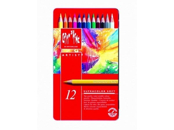 Farbstift Caran dAche Supracolor 12er Metalletui, sehr gut lichtbest�ndig, wasservermalbar, weich, sechskantige Stifte in Minenfarbe lackiert, Minendurchmesser 3,8mmMasse:187x110x18mm  Gewicht:175g