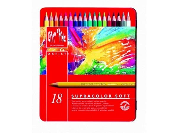 Farbstift Caran dAche Supracolor 18er Metalletui, sehr gut lichtbest�ndig, wasservermalbar, weich, sechskantige Stifte in Minenfarbe lackiert, Minendurchmesser 3,8mmMasse:187x155x18mm  Gewicht:260g