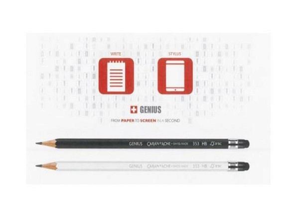 Bleistift Caran d'Ache Genius mit Tablet-Knopf weiss oder schwarz, Mine HB 2,1mm, aus Zedernholz, La