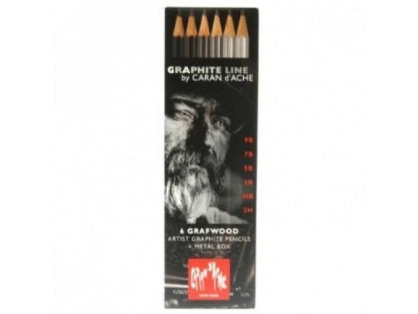 Bleistift Caran dAche Grafwood 775 Set 6er Metallschachtel