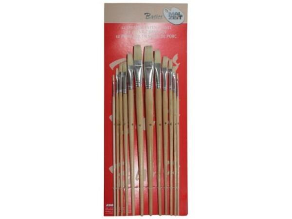 Pinselset Borsten 12tlg. flach von der Grösse 1 bis 12