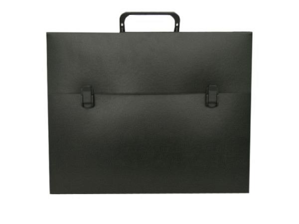 Zeichenkoffer schwarz 75x105x5cm Aussenmasse, aus Kunststoffwelle