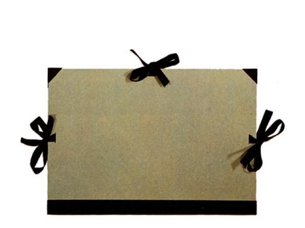 Zeichenmappe Graukarton 85A 64x92cm f�r A1-Formate, mit drei schwarzen Stoffb�ndern zum Verschliesse