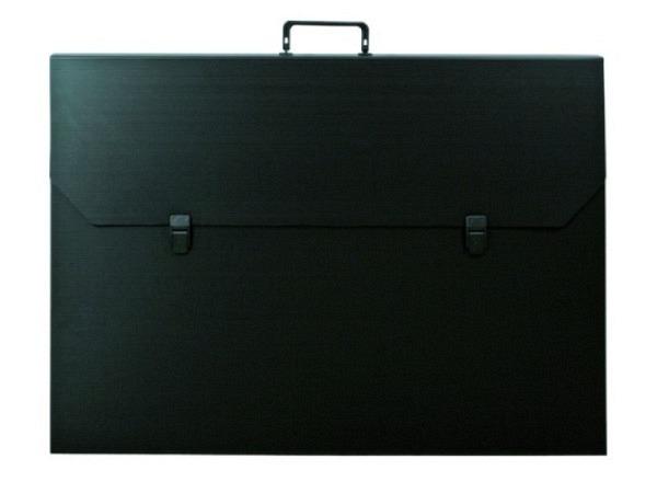 Zeichenkoffer schwarz 27x38x5cm Aussenmasse, aus Kunststoffwelle mit klappbarem Griff