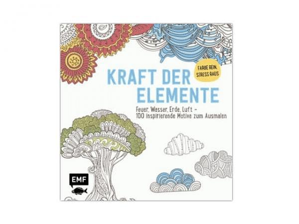 Malbuch Kraft der Elemente - Feuer, Wasser, Erde und Luft, Ausmalbuch für Erwachsene, 100 inspiriere