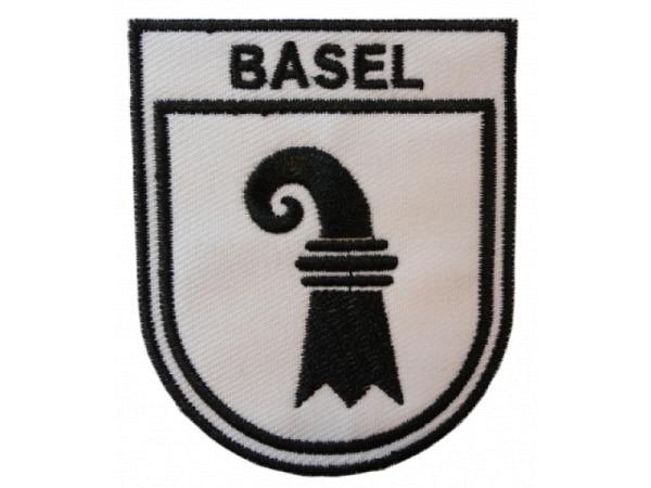 Aufnäher Basel aus Stoff, mit Baslerwappen