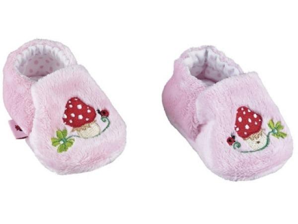 Babyschuhe Baby Glück rosa, aus Plüsch mit Stickerei