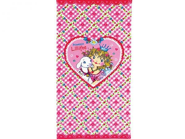 Badetuch Prinzessin Lillifee 75x150cm mit Punkten und Herzen