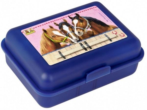 Butterbrotdose Pferderfreunde Blue Edition, mit Pferdemotiv