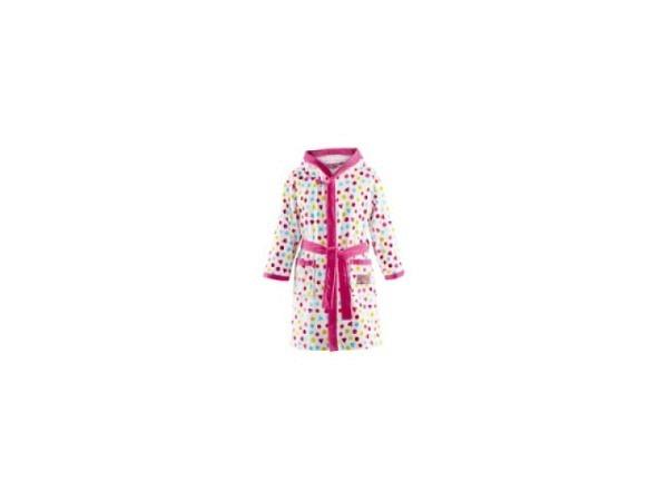 Bademantel Prinzessin Lillifee 104/116 weiss-rosa Kapuzenbademantel mit farbigen Punkten, Gürtel zum