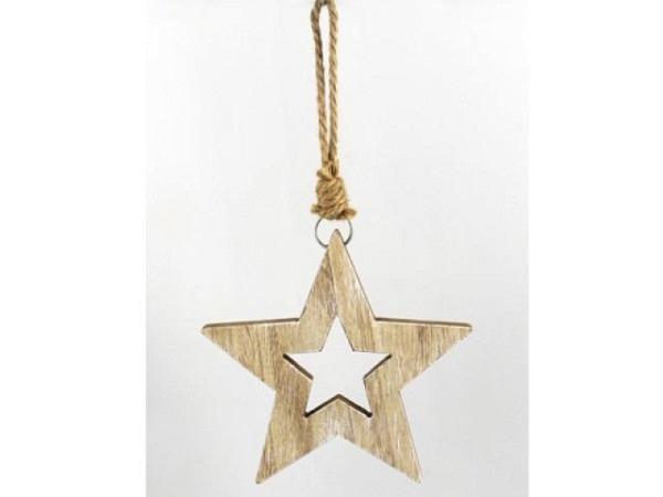 Deko Anhänger Stern, 18cm, Holz-Stern ausgestanzt