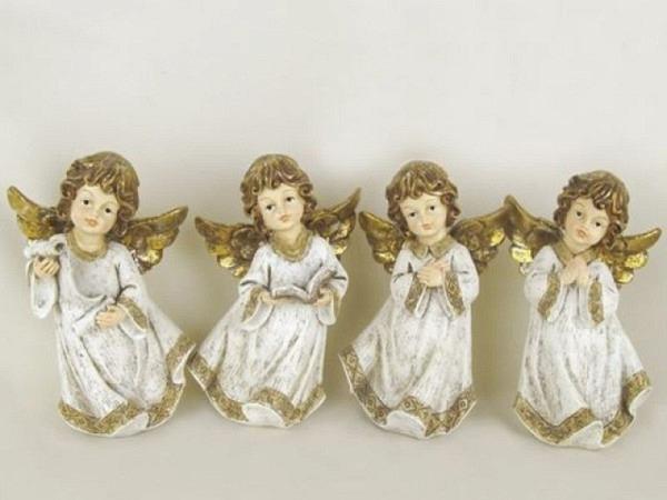 Deko Engel altweiss/gold 14x23 stehend 4 verschiedene Engel