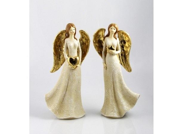 Deko Engel creme/gold, 17x10x36cm, schlanke Engel