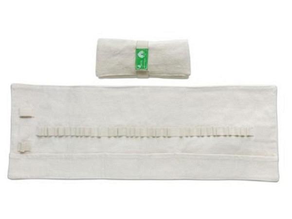 Etui Baumwolle natur zusammenrollbar mit 37 Einstecklaschen
